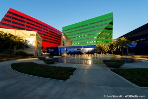 Red and Green Buildings at the PDC