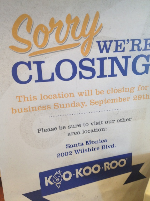 Weho Koo Koo Roo Closing Sunday Wehoville