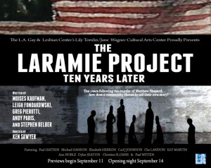 """the laramie project on homosexuality Cast members of the play, which is about an openly gay male who was murdered in laramie county in wyoming, said members of the audience became so disruptive at times that they struggled completing in (""""the laramie project') we address these topics of hate against homosexuals,"""" ledbetter said."""