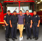 David Beckham and Kids Tour WeHo's Fire Station 7