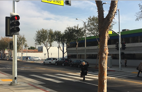 Pedestrian crosswalk on Santa Monica Boulevard between Odgen Drive and Orange Grove Avenue.