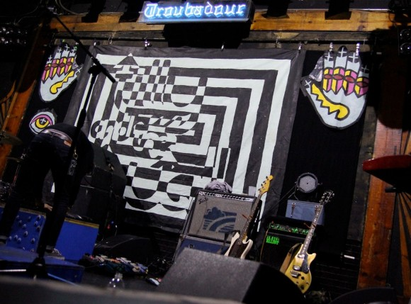 Tilly and the Wall stage artwork at the Troubadour (Photo by Faye Duhamel)