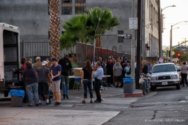 The homeless being served by The Greater West Hollywood Food Coalition