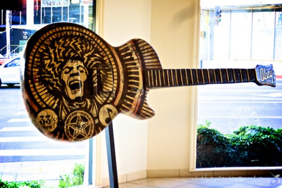 "Shepard Fairey's ""Electric Warrior,"" inspired by Marc Bolan of T-Rex. Photographer:  Genie Sanchez/SSBA"