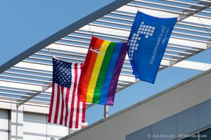 city hall rainbow flag