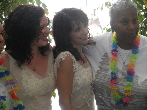 The Taylors with Wanda Lawson, who also got married on Monday.