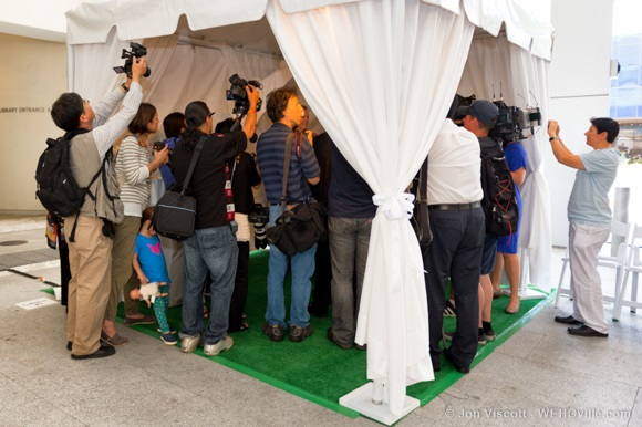 Reporters, photographers and television crews were eager to get the scoop.