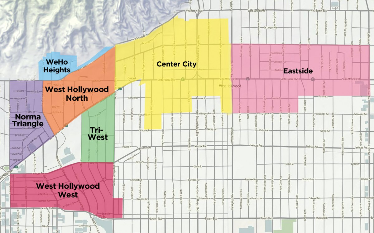 West Hollywood Neighborhood Map