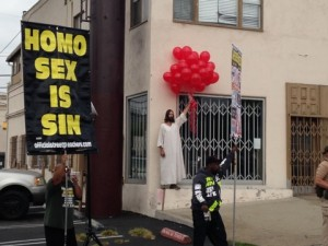 """WeHo Jesus"" Kevin Lee Light at the 2013 AIDS Walk Los Angeles. (Photo by Brody Brown)"