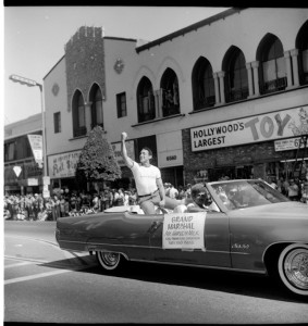 San Francisco Supervisor Harvey Milk as the grand marshall of the 1978 L.A. Pride parade. Christopher Street West pride parade in Los Angeles. June 1978. Courtesy of ONE National Gay & Lesbian Archives at USC Libraries.
