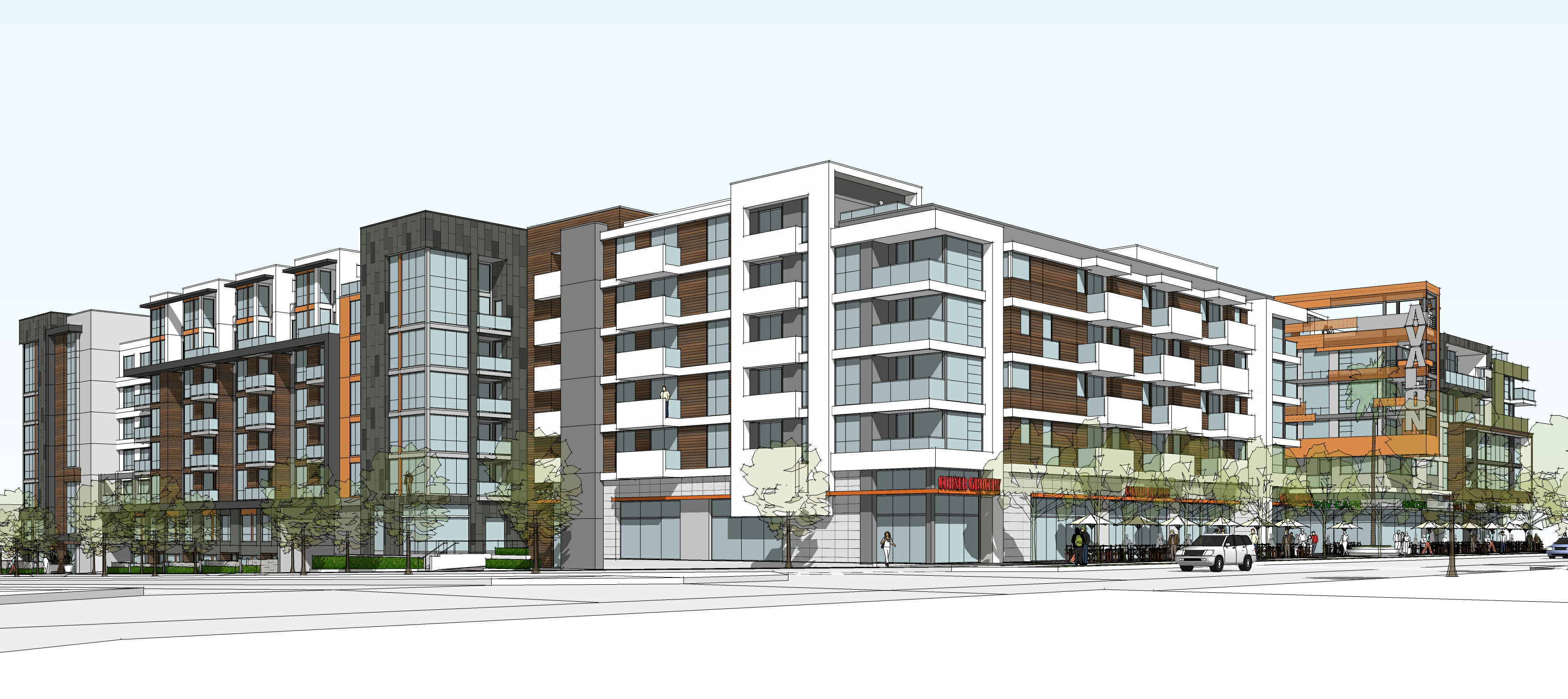 Illustration of proposed Movietown Plaza development as seen from the corner of Santa Monica Boulevard at Poinsettia. (Architect MVE & Partners, Irvine)