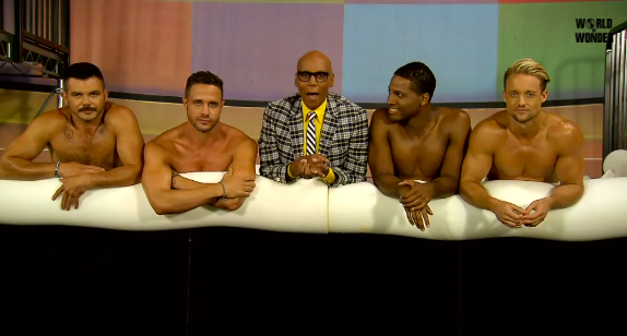 "RuPaul with crew members saying ""bye"" to the audience."