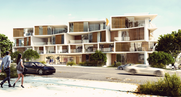 702-714 N. Doheny Dr.  building as seen from Doheny Drive. (Illustration by R&A Architects).