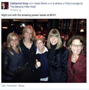 Heidi Shink, second from right, at the Beverly Hills Hotel's Polo Lounge (Facebook)