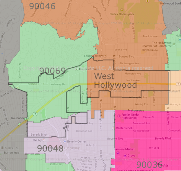 West Hollywood Zip Zones