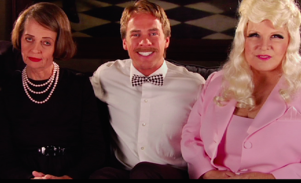 From left to right, Karen Teliha as Betty Davis, Brandon Michael Larcom as Wes Wheadon and  Victoria Mills as Mae West.