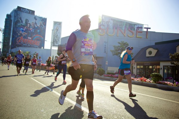 Runners on Sunset Boulevard in the Sunset Strip Half-Marathon. (Photo courtesy of RaceForce).