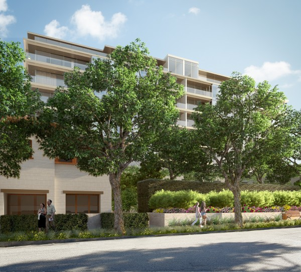 Architect's rendering of the north side, facing Rosemont, of the proposed 8899 Beverly project.