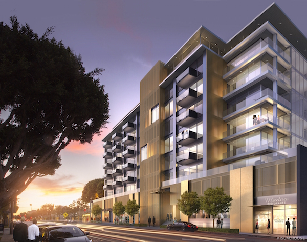 A rendering of the proposed restyled south facade of 8899 Beverly Blvd.