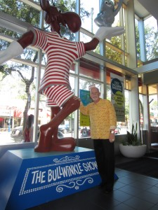 Rocky joins Bullwinkle in West Hollywood's City Hall lobby (Photo courtesy of Dan Morin)