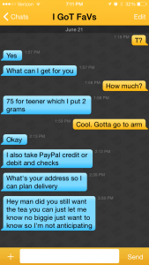 Screenshot of conversation with Grindr user.