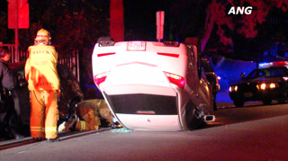 Crew investigating a car that flipped in the 1000 block of Westmount drive last night.