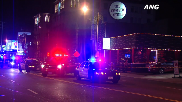 Sheriff's deputies outside the Comedy Store on Sunset Boulevard Wednesday morning (Photo ANG News)