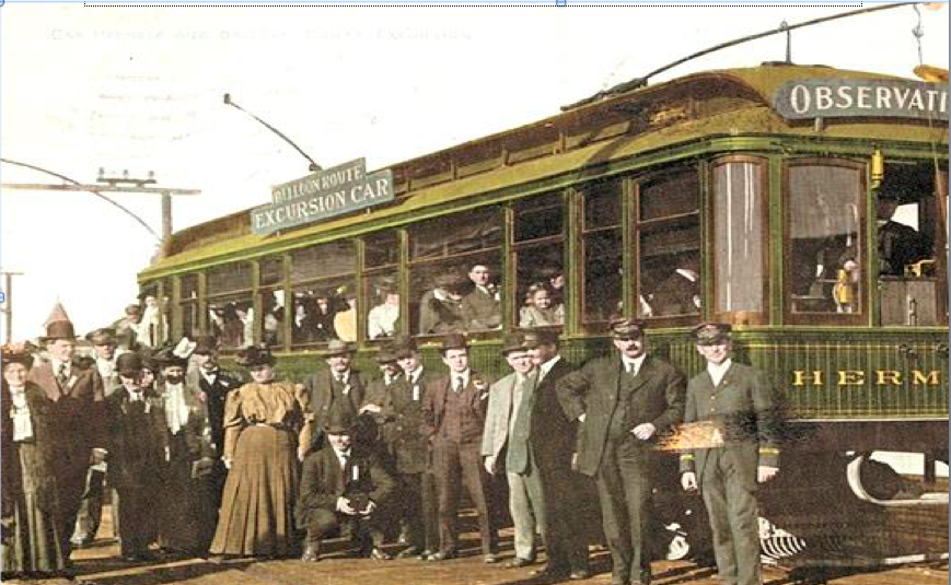 "This photo from 1902 shows passengers enjoying the most famous trolley car trip in the West during the early 1900s – a daylong excursion called the ""Balloon Route"" from downtown Los Angeles to the beach cities and back again. The popular trip, billed as ""the only ocean voyage on wheels,"" covered 101 miles for 100 cents. (Photo from the Los Angeles Water and Power Collection)"