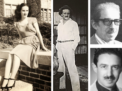 Left: One of the last known photos of Elizabeth Short, aka the Black Dahlia, taken i in 1946. Center: Rudolph Schindler. Right: Photos of George Hodel, a physician who was the prime suspect in Short's murder.