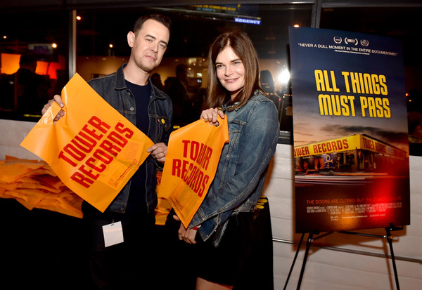 "Director Colin Hanks and actress Betsy Brandt at the after party for the premiere of Gravits Ventures' ""All Things Must Pass"" at Tower Records on the Sunset Strip in West Hollywood on Thursday night. (photo courtesy of Kevin Winter, Getty Images North America)"