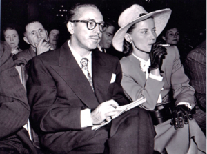 Dalton Trumbo with wife Cleo listen as he is cited for contempt of Congress. (Photo credit: Way Too Famous)