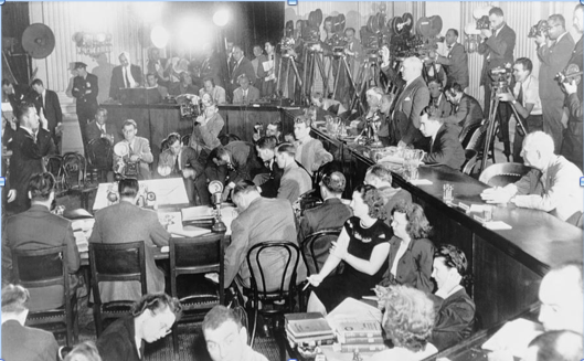 House Un-American Activities Committee hearings of those accused of having … or having had … Communist connections. (Photo courtesy of Kings Academy – The Startup of the Cold War)