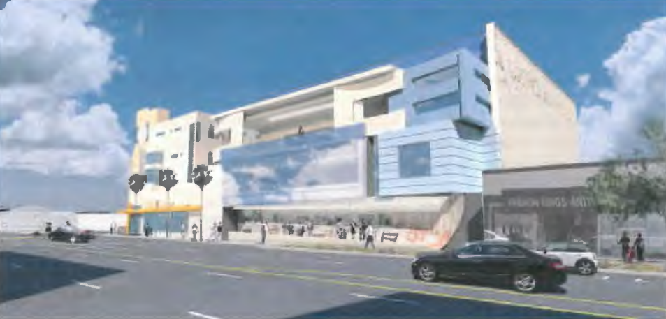 Rendering of the Center for Early Education with a newly constructed center building on La Cienega.