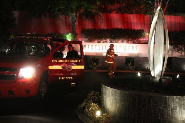 Firefighters at Westview Towers, 1155 N La Cienega Blvd.