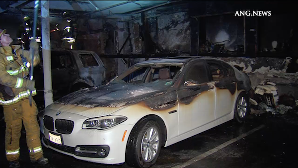 Car burned in fire at xxx n. Hayworth Ave. (Photo by ANG.NEWS)