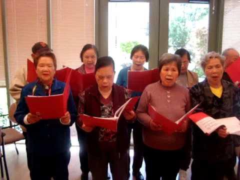Residents singing at San Francisco's Presentation Senior Community congregate living facility.