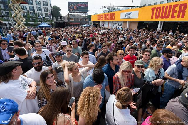 People packed the Tower Records lot Saturday for the Elton John and Lady Gaga performance. (Photo by Jon Viscott, courtesy of the City of West Hollywood)