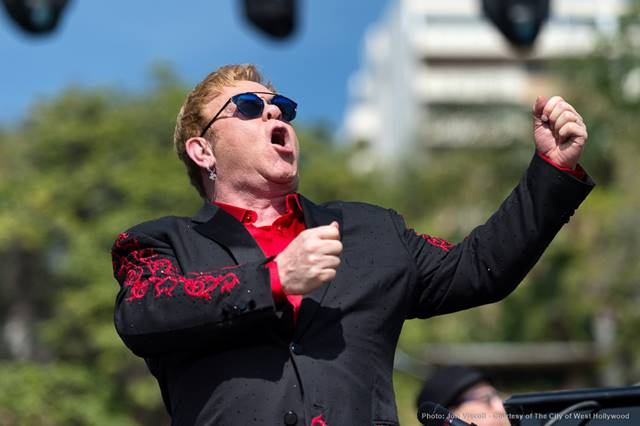 Elton John singing one of his notable songs. (Photo by Jon Viscott, courtesy of the City of West Hollywood)