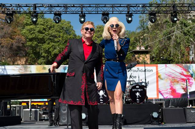 Elton John and Lady Gaga, hand in hand. (Photo by Jon Viscott, courtesy City of West Hollywood)