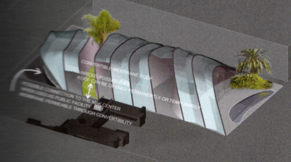 """Convertible Concept by the Vienna firm exikon arc would have enclosed proposed condos in a membrane designed to resemble nearby foothills. Image above from Bernhard Sommer + Goga S. Nawara of exikon arc as published in """"Architectural Resistance: Contemporary Architects Face Schindler Today,"""" 2003, by Hatje Gantz, Germany; image below from MAK Center for Art and Architecture)"""