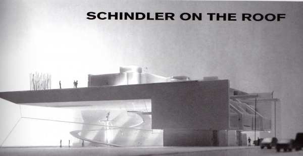 """This concept suggested raising the Schindler House on a platform above the rooflines of neighboring buildings in order to preserve its integrity. (Image credit: Coop Himmelb(lau), as published in """"Architectural Resistance: Contemporary Architects Face Schindler Today,"""" 2003y)"""