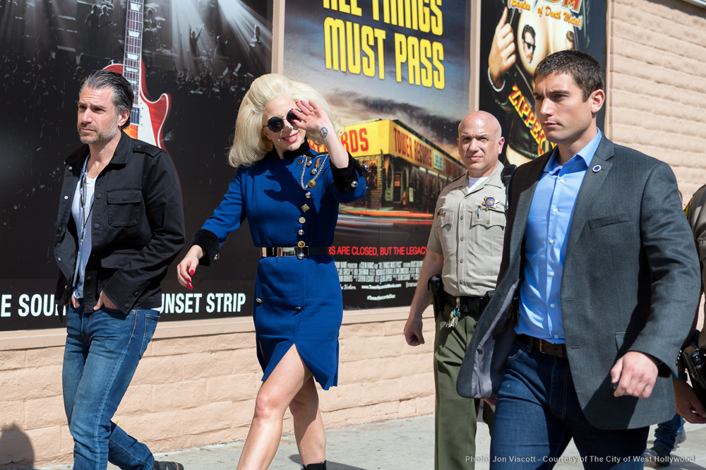 Lady Gaga says goodbye. (Photo by Jon Viscott, courtesy City of West Hollywood)