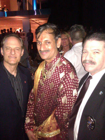 Mitchell Grobeson, right, with AHF CEO Michael Weinstein, left, and gay Indian Prince Manvendra