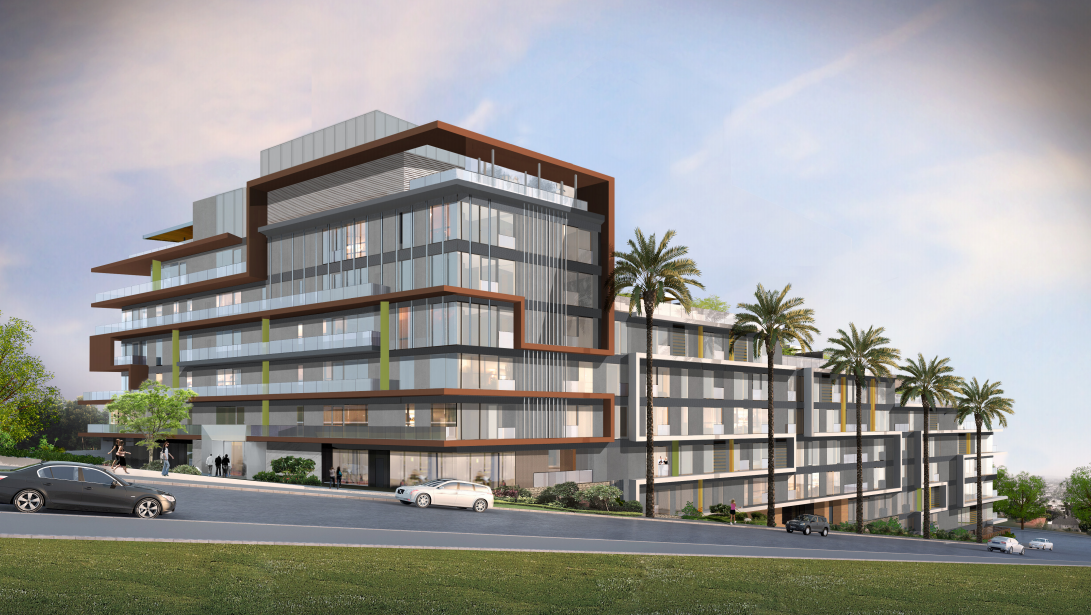 Illustration of the Sunset Time condominium building as viewed from Olive Drive extending down to Fountain Avenue. (Illustration by Erlich Architects)