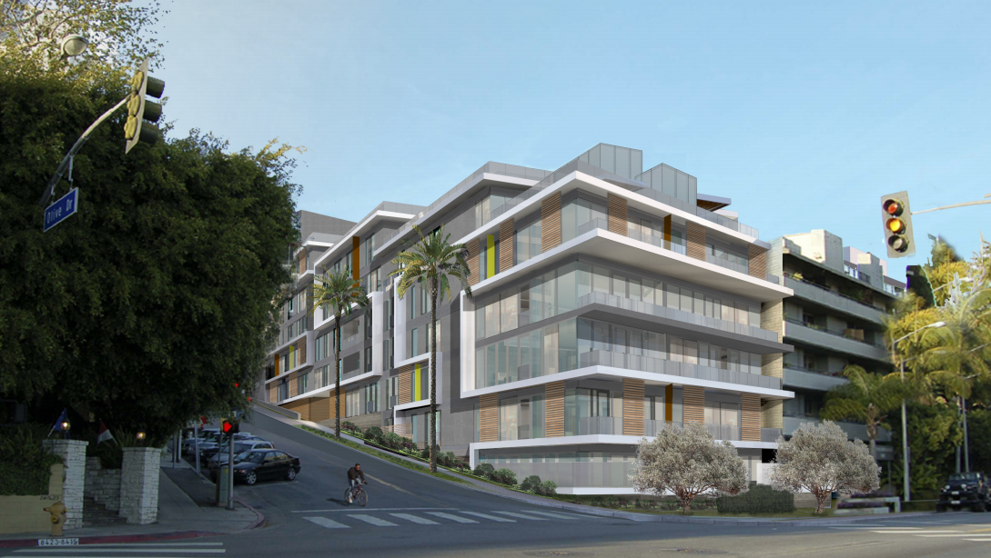 Illustration of the Sunset Time condominium building looking northeast from the intersection of Olive and Sunset. (Illustration by Erlich Architects)