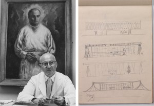 Dr. Robert Alan Franklyn and a sketch by Niemeyer of his design for the building.