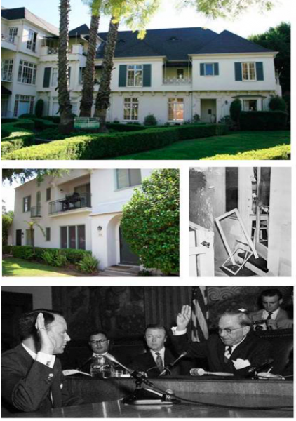 Monroe lived in a duplex apartment at 8336 De Longpre Ave in November 1954. This was the time of the infamous Wrong Door Raid at 8122 Waring Ave. involving Joe DiMaggio and Frank Sinatra, testifying at a hearing on the matter.
