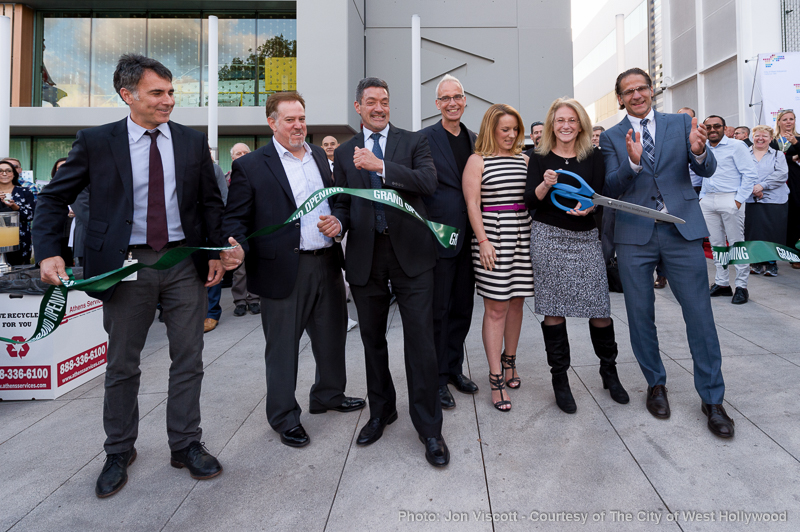 Cutting the ribbon, from left to right City Manager Paul Arevalo, Public Works Director Oscar Delgado, city council members John Duran and John Heilman, Mayor Lauren Meister and city council members Lindsey Horvath and John D'Amico.