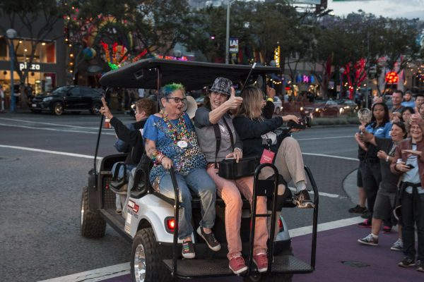 Women heading down Santa Monica Boulevard for LA Pride's annual Dyke March and Rally (Photo by Derek Wear of Unikorn Photography)