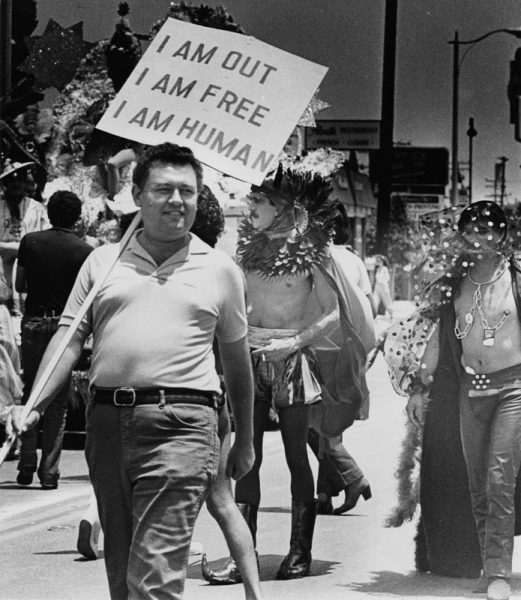 A participant in West Hollywood's Gay Pride Parade June 28, 1982. (Photo by Anne Knudsen, Los Angeles Herald Examiner Collection, Courtesy of the Los Angeles Public Library Photo Collection)